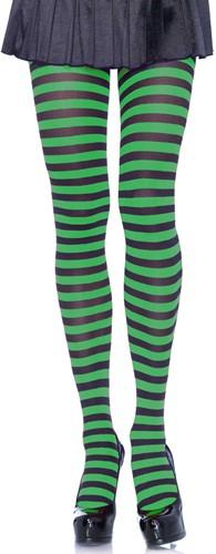Gestreepte Zwart-Groen Panty Luxe