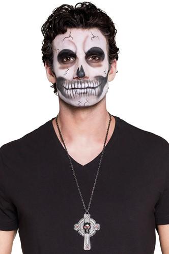 Ketting Kruis met Skull Halloween-2