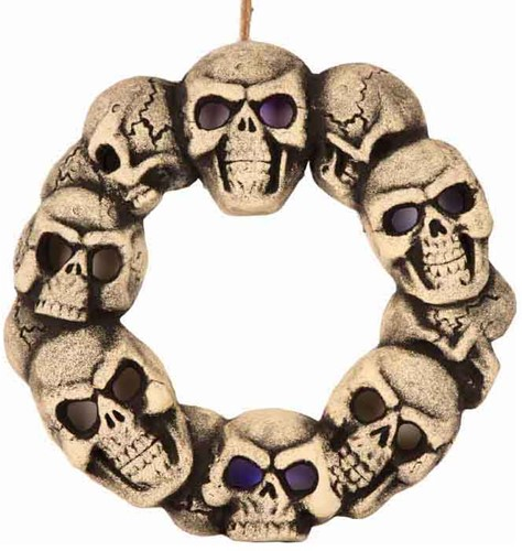Halloween Decoratie Skull Krans met Licht (38cm)