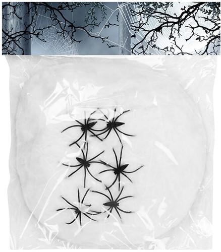 Witte Spinrag met 6 Spinnen (100g)