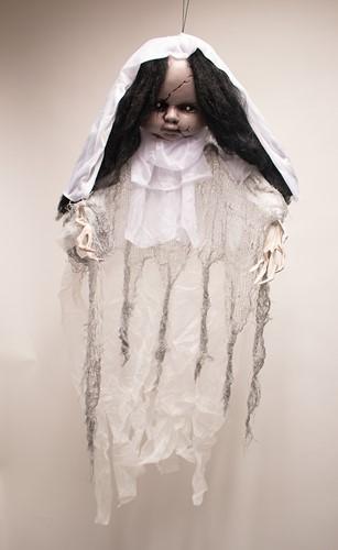 Hangdecoratie Halloween Scary Girl met LED (90cm)