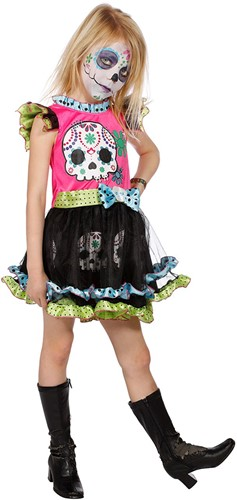 Meisjesjurk Day of the Dead Zwart/Pink
