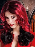Halloween Pruik Lang Red Fury-2