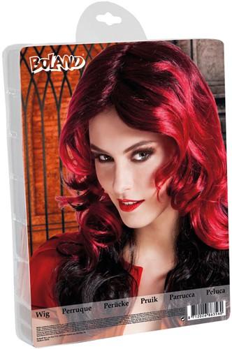 Halloween Pruik Lang Red Fury-3