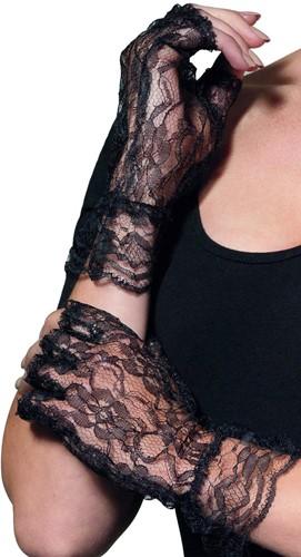 Korte Vingerloze Handschoenen Kant Zwart