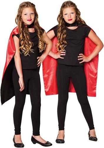 Rode/Zwarte Omkeerbare Cape voor Kinderen (90cm)
