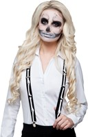 Zwarte Bretels Skeleton (Witte Botten, verstelbaar)-2