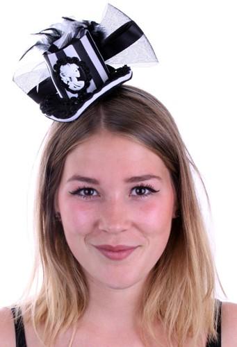 Mini Hoedje Zwart -Wit Gestreept met Diadeem