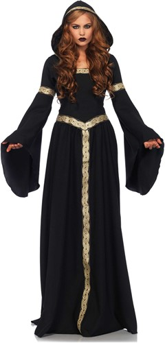 Luxe Gothic Heksenjurk Zwart-Goud met Capuchon