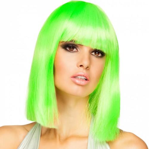 Neon Groen Half Lang Bob Pruik
