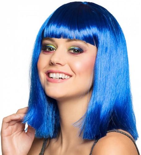 Blauw Half Lang Bob Pruik