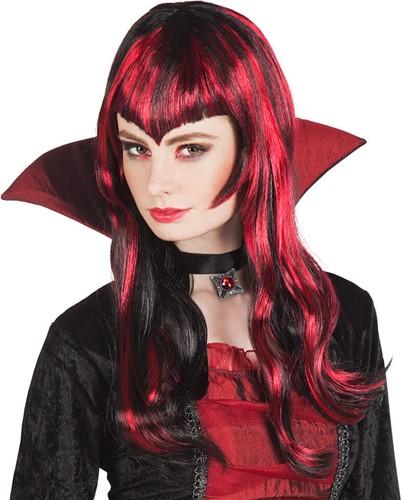 Pruik Vampier Zwart/Rood
