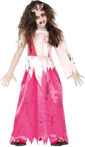 Prinsessenjurk Roze Zombie Voor Meisjes- 7-9 jaar