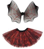 Spinnen Tutu Zwart/Rood inclusief Vleugels (2dlg.)-2