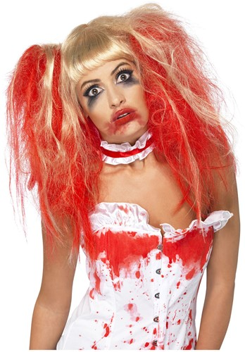 Pruik Blond met Bloed Halloween
