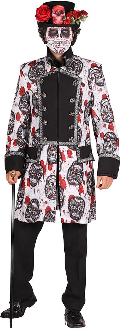 Halloween Heren Jas Mexican Skull Blackwhite