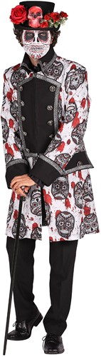 Halloween Heren Jas Mexican Skull Black/White-2