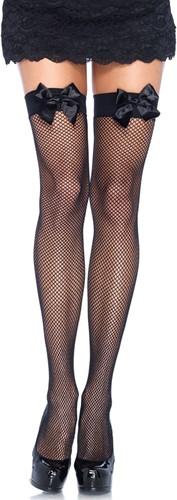 Zwarte Sexy Overknee Netkousen met Zwarte Strikken