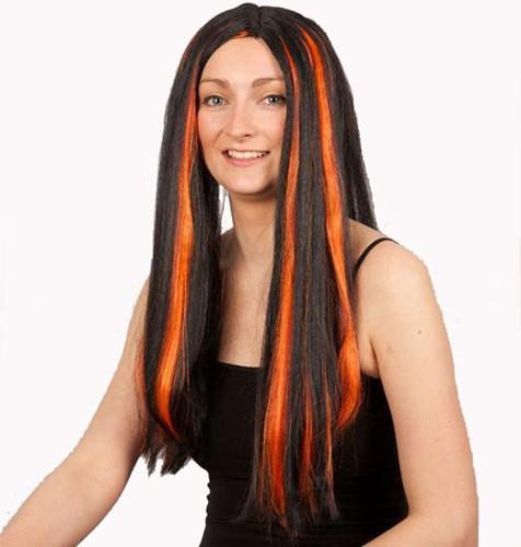 Pruik Halloween Cruelle Zwart/Oranje