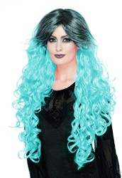 Gothic Pruik Ombre Turquoise Luxe