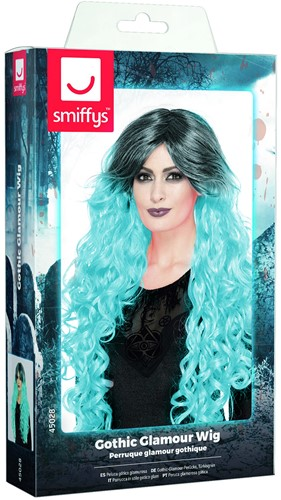 Gothic Pruik Ombre Turquoise Luxe-2