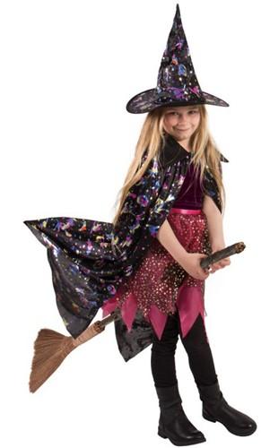 Kinder Heksencape met Heksenhoed Holografisch