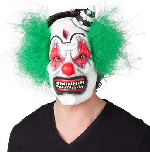 Masker Enge Clown met Groen Haar