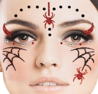Gezicht Stickers Halloween Spinnen