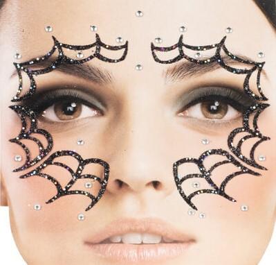 Gezicht Stickers Halloween Spinnenweb