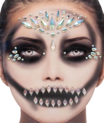 Gezicht Stickers Halloween Queen Black Luxe