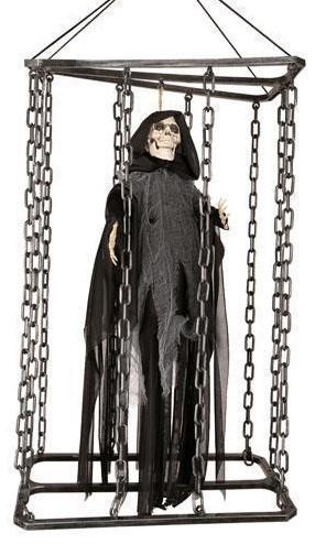 Hangdecoratie Skelet Bewegend in een Kooi (50cm)