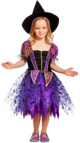 Heksen jurk zwart met paars