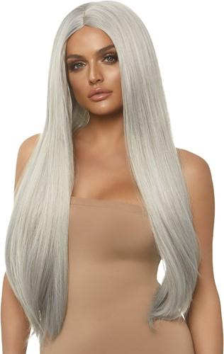 Grijze Luxe Pruik Lang Stijl Haar