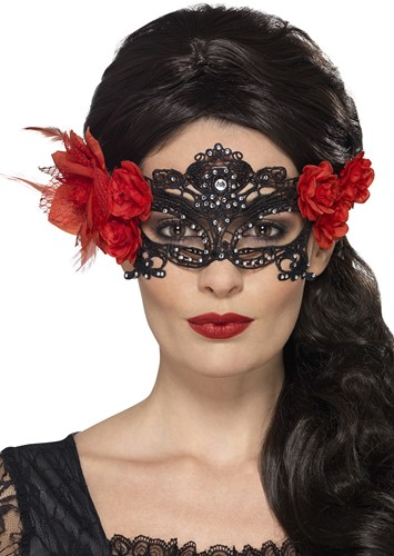 Oogmasker Kant Day of the Dead (Strass en Rozen)