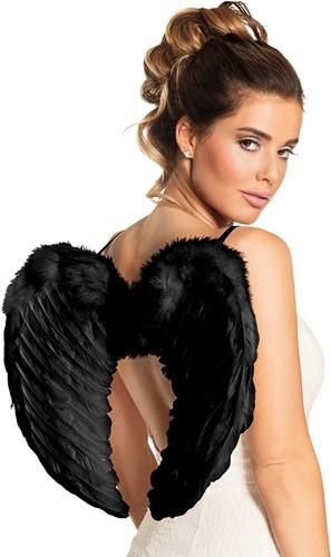 Zwarte Engelen Vleugels met Marabou (50cm bij 35cm)-2