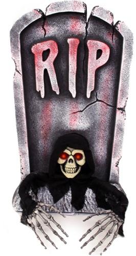 Grafsteen RIP met uithangend Skelet 65cm (met verlichting)