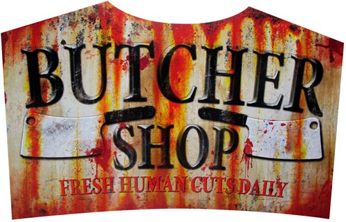 Metal Sign Halloween Butcher Shop (36x59cm)