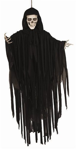 Hangdecoratie Deathskull met Beweging+Geluid+LED (90cm)