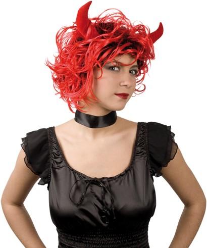 Pruik Curly Devil (met hoorns)