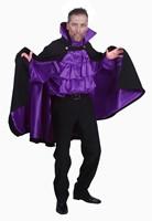 Dracula Cape Kort Luxe Zwart/Paars