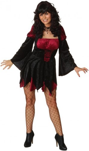 Damesjurkje Sexy Heks Zwart/Rood
