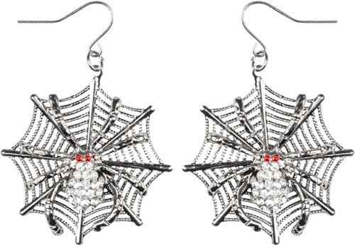 Oorbellen Ruby Spin op Web (met diamantjes)