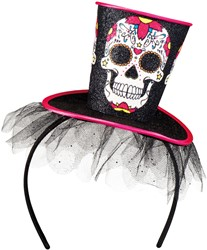 Diadeem met Hoog Hoedje Skull (Day of the Dead)