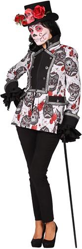 Dames Jas Mexican Skull Black/White Halloween