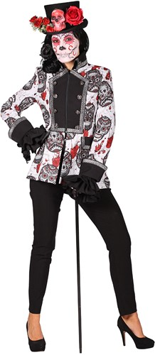 Dames Jas Mexican Skull Black/White Halloween-2
