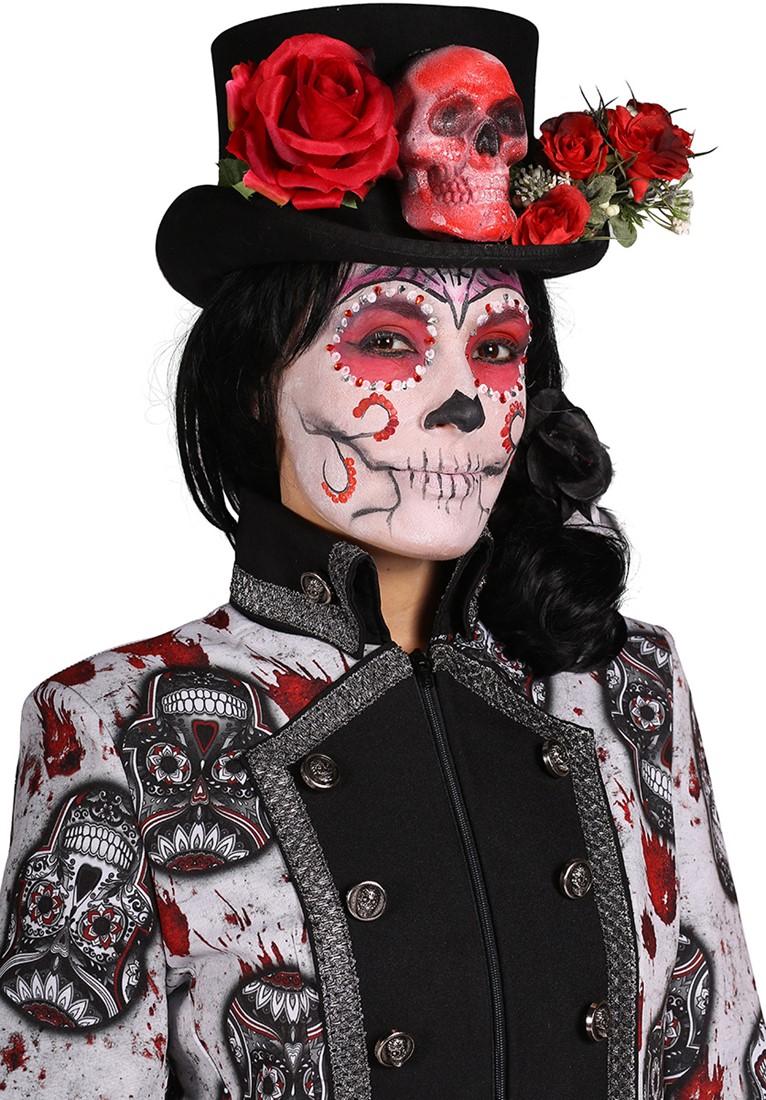 Dames Jas Mexican Skull Blackwhite Halloween