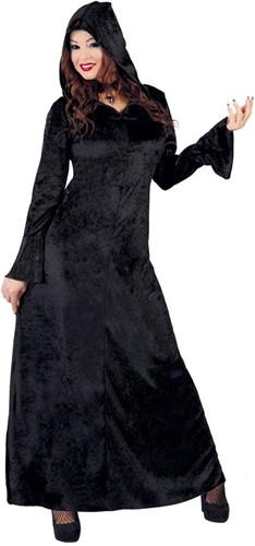 Damesjurk Halloween met Capuchon Zwart
