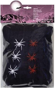 Zwarte Spinrag met 6 Spinnen (100g)