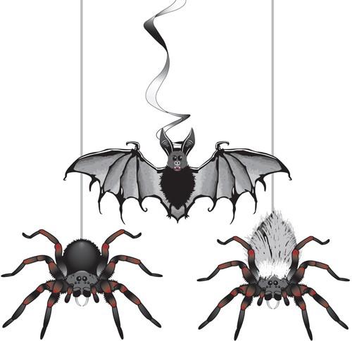 Hangdeco Halloween Vleermuis +Spinnen (3st)