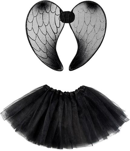 Engel Tutu Zwart met Vleugels (2dlg.)-2